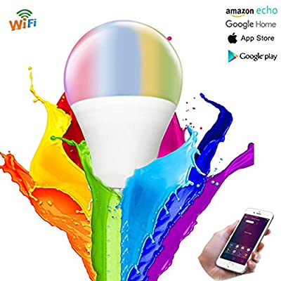 Smart Wifi LED Dimmable Light Bulb, 6.5w Equivalent A19 2700k Soft White, Compatible with Alexa