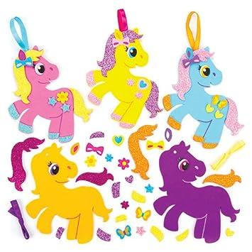 Baker Ross Kits de Decoraciones combinables de Ponis Que los niños Pueden Crear, Decorar y exhibir - Juego de Manualidades Creativas para niños (Pack de 6).