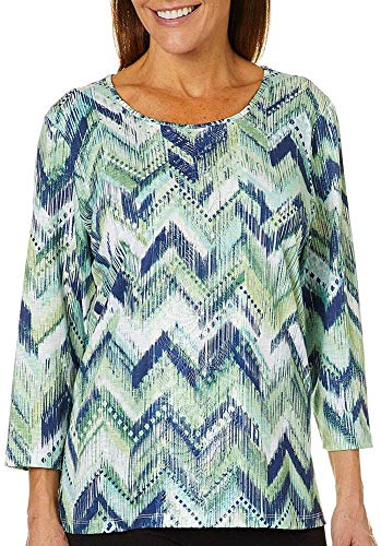 Alfred Dunner Greenwich Hills Zig Zag Top Multi PM ()