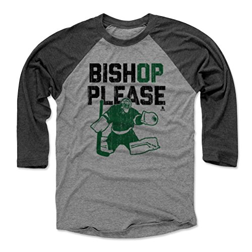 - 500 LEVEL Ben Bishop Baseball Tee Shirt (Large, Black/Heather Gray) - Dallas Stars Raglan Tee - Ben Bishop Please G