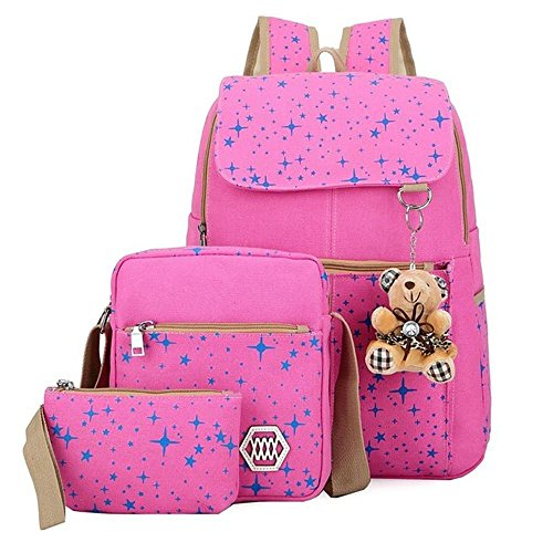 ZOUYO Girls Canvas Backpack Set 3 Pieces Patterned Bookbag Laptop School Backpack (Pink)