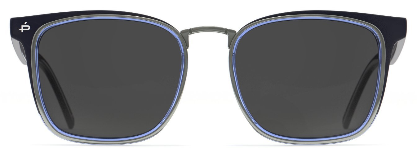 PRIVÉ REVAUX Places We Love Collection''The O.H.I.O'' Polarized Handcrafted Designer Square Sunglasses RandM Colab (Navy Blue)