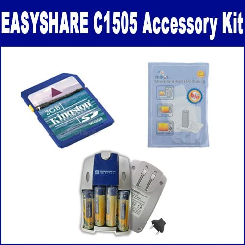 Kodak EASYSHARE C1505 Digital Camera Accessory Kit Includes SB257 Charger KSD2GB Memory Card ZELCKSG Care /& Cleaning