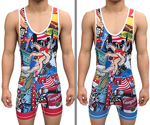 TRI-TITANS Merica Full Color Reversible Wrestling Singlet - Freestyle Greco Roman Folkstyle - Red & Blue Mens & Youths