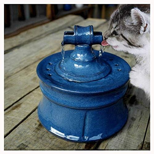 ペット水ディスペンサー、健康な陶磁器犬猫水噴水自動循環水噴水猫水ディスペンサー移動式水洗面器の酒飲み,Blue