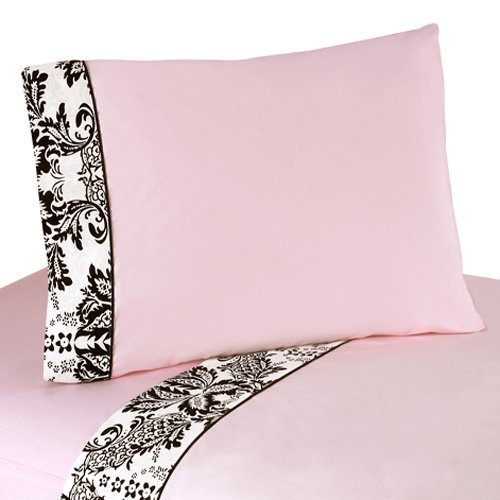 Sweet Jojo Designs 4-Piece Queen Sheet Set for Pink and Black Sophia Bedding (Sophia Bedding Collection)