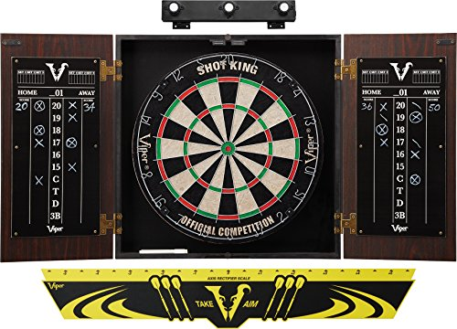 Viper Stadium Cabinet & Shot King Sisal/Bristle Dartboard Ready-to-Play Bundle: Premium Set (Shot King Dartboard, Darts, Shadow Buster and Throw Line) (Best Dart Board For The Money)