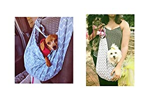 Hands-free Adjustable Shoulder Strap Reversible Pet Sling Carrier for Small Medium Cats Dogs By BuBinga Strip