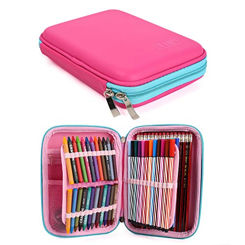 (Pencil Case, Zipper Pen Case Perfect Storage for Colored Pencils, Gel Pens, Markers, Craft Supplies for Boys and Girls (Pink))
