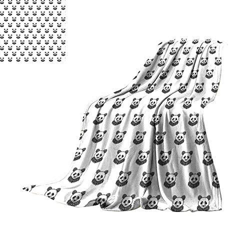 (RenteriaDecor Tattoo,Soft Blanket Microfiber Stylized Panda Bear Portraits Cute Mascots Pattern for Children in Black and White Throw Rug Sofa Bedding W70 x L50 inch)