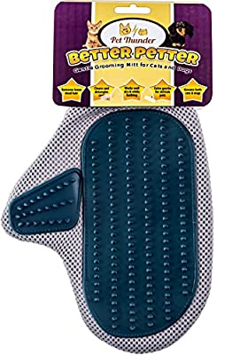 Better Petter Dog & Cat Brush Glove - Gentle Grooming Mitt Your Pet Will Love from Pet Thunder