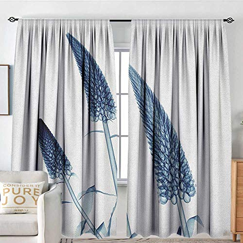 "Petpany Blackout Curtains for Bedroom/Living Room Flower,Gooseneck Loosestrife Flower X Rays Image Exotic Plants Blooms Artful Home Image, Teal White,Insulated Draperies for Office Nursery 54""x72"""