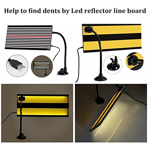 Medium G/&S GS Paintless Dent Repair LED Line Board Double Stripe Reflector Board with Adjustment Holder Light Line Board for Dent Repair Dent Fix Tools