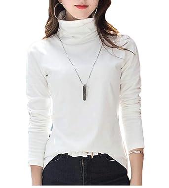 66adb20f78e4 Joe Wenko Women Cotton Fashion Cowl Neck Slim Turtleneck Pullover T-Shirts  Beige XXS