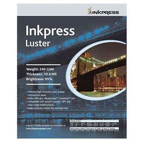 Inkpress Luster Premium Single Sided Bright Resin Coated Photograde Inkjet Paper, 10.4mil., 240gsm., 11x17