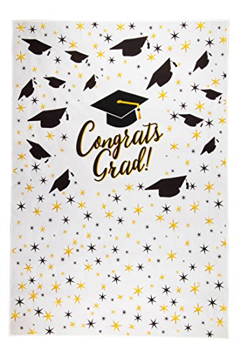 Graduation Photo Backdrop - Photo-Booth Background with Congrats Grad and Graduation Cap Design, White Photography Party Background, 5 x 7 -