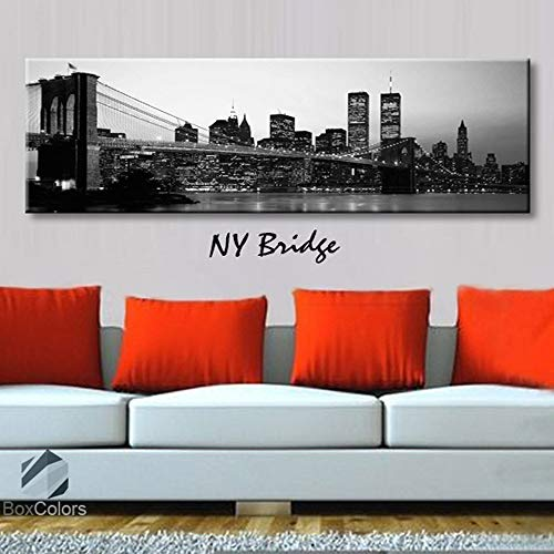 BoxColors - Single panel 3 Size Options Art Canvas Print NY Bridge new york City Skyline Panoramic Downtown Night black & white Wall Home Office decor (framed 1.5
