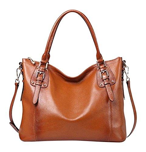 By Olivia - Women's Vintage Soft Genuine Leather Tote or Large Shoulder Bag with Outside Side Zipper Pocket by Olivia