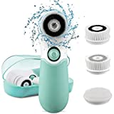 Cleansing Exfoliating Brush System - KOOVON Waterproof Electric Facial Cleansing Spin Brush with 3 Heads for Exfoliating Removing Blackhead
