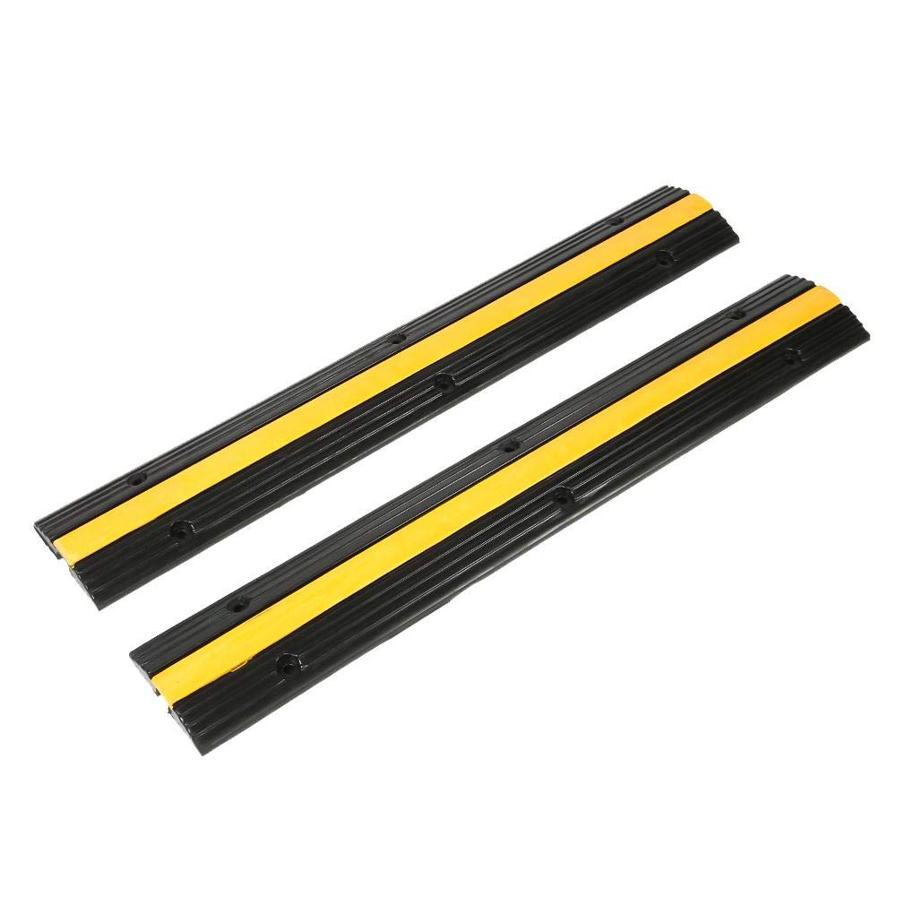 2 Pcs Rubber Speed Bump, Single Channel Rubber Cable Protector Ramp Heavy Duty Cable Ramp Cover, 40x6.3x1.2
