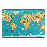 Cooper girl World Map Nautical Theme Special Custom Animal Home Anime map,Indooor Outdoor Decorative Modern Printed Area Rug Carpet 5'x3'3'' Blue