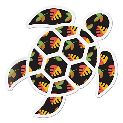 Red Hound Auto Sea Turtle Black Flowers Sticker Decal Wall Tumbler Cup Window Car Truck Laptop 2.5 -