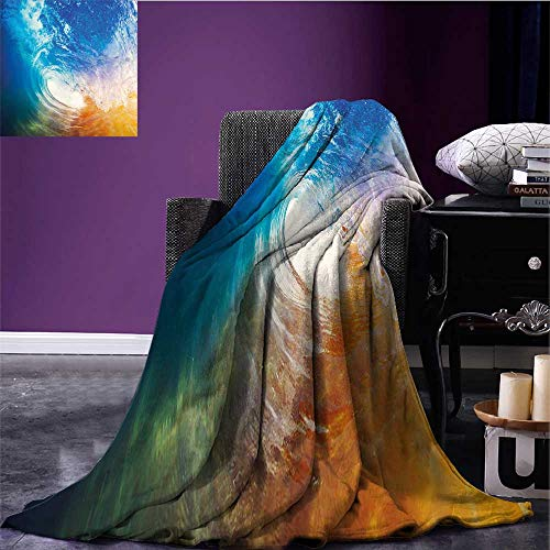 ightweight Blanket Huge Vibrant Ocean Wave Crashing at Sunrise Water Splash Summer Surfing Theme Print Summer Quilt Comforter Blue Orange White Bed or Couch 60