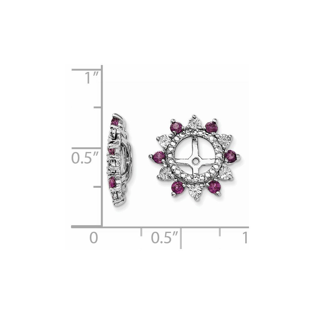FB Jewels Solid Sterling Silver Rhodium Rhodolite Garnet Earring Jacket