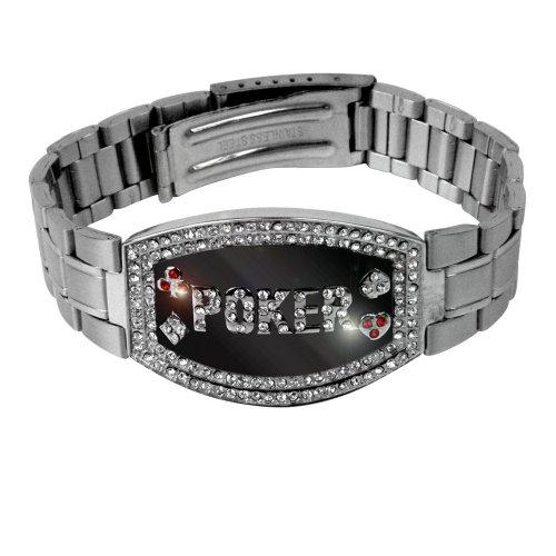 Trademark Silver Elite Dark Poker Bracelet - 156 Crystals (Silver)