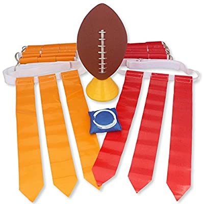 Flag Football Set for 12 Players - Includes Durable Flag Belts and Flags, Cones, Bean Bag, Carrying Backpack, and Football - Huge 55 Piece Complete Set from The Football Shop