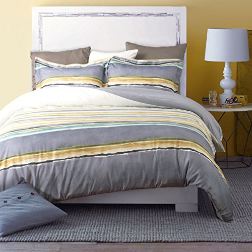 Duvet Cover Set with Zipper Closure-Ink Color Stripe Taupe/Grey Reversible Design,Full/Queen (90