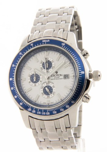 Croton Men's CC311093SSBL Silver-Tone Blue Bezel Watch, Watch Central