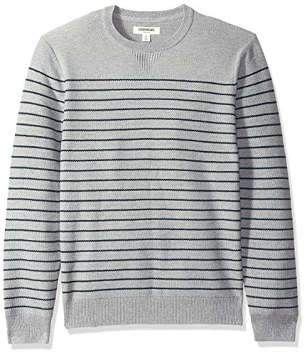 Goodthreads Men's Soft Cotton Striped Crewneck Sweater, Heather Grey/Navy, X-Large ()