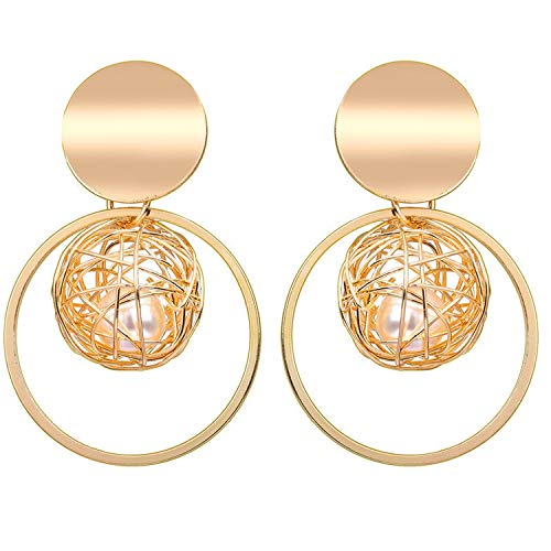 Round Geometric Acrylic Resin Drop Earrings For Women Vintage Gold Color Dangle Za Earring Boho 2019 Female Fashion ()