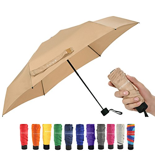 Travel Compact Umbrella Mini Sun Umbrella Ultra Light Parasol - Fits Men & Women (Ver 1.-Khaki) (Best For Small Umbrella Wind)