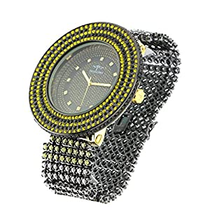 Men's XL Techno Pave Casual Fashion Watch Black & Yellow Japanese Quartz Crystals