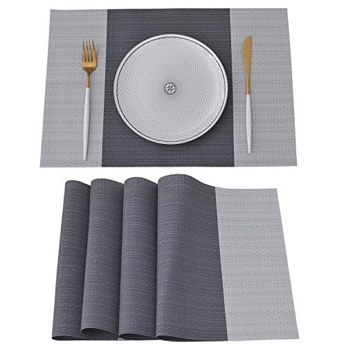 NJCharms Placemats Set of 4, Heat Resistant Washable Nautical Placemats for Dining Kitchen Table Environmental PVC Wipeable Crossweave Vinyl Woven Plastic Placemats Table Mats Easy to Clean, Gray