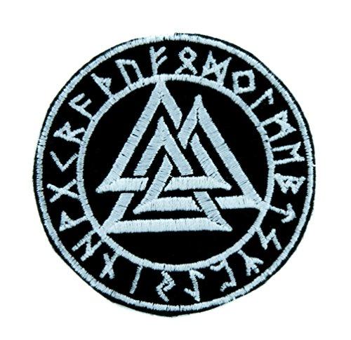 (Valknut Odin Viking Symbol Patch Iron on Applique Alternative Clothing Old Norse Mythology )