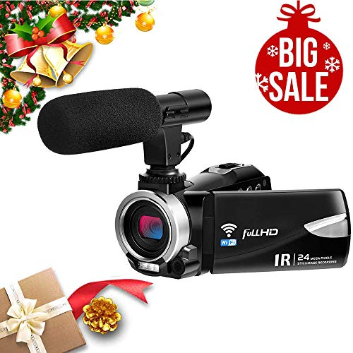 Camcorder with Microphone FHD 1080P 30 FPS 24.0 MP Video Camera Camcorders WiFi Night Vision Vlogging Camera 16X Digital Zoom HDMI Output