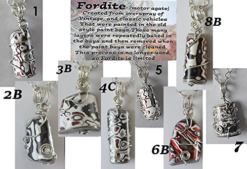 Fordite pendant necklace jewelry Detroit Motor agate recycled paint wire wrapped unisex (Pendant Riverstone)