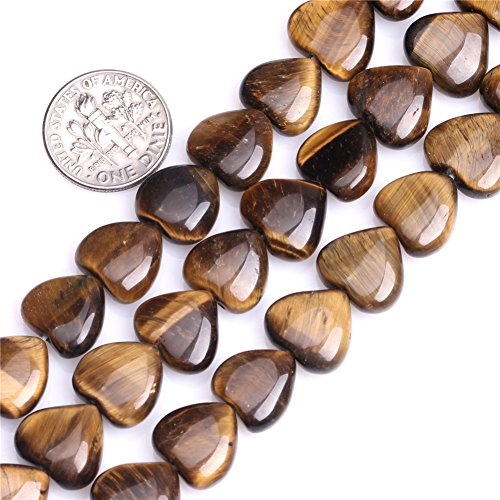 Tiger Eye Beads for Jewelry Making Natural Semi Precious Gemstone 12mm Heart Shape Strand 15