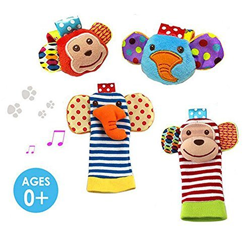 Daisy  4-Piece Animal Baby Infant Wrists Rattle and Socks Foot Finders Set Developmental Soft Toy - Elephant and Monkey