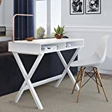 Nathan Home 51002 Kalos Home Office Computer Desk Or Makeup Vanity Table, For Small Spaces, White Modern Wood Finish