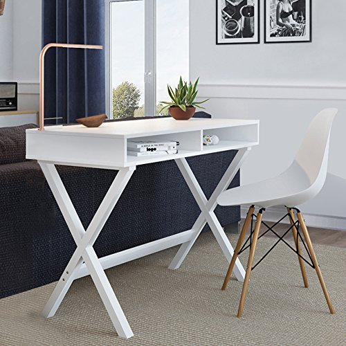 Wood Computer Desk with Storage - Great for Home Office, Small Spaces, and a Secretary - Sturdy Solid Wooden Base - Use as a Writing Desk, Makeup Vanity or a Console Table, White Modern Finish