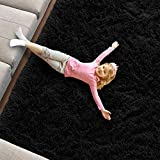 Black Soft Area Rug for Bedroom,4x6,Fluffy