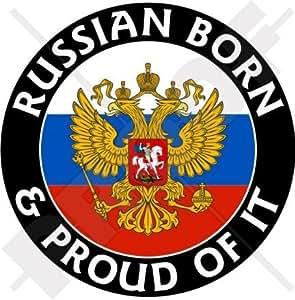 Rusia Ruso nacido & Orgulloso 100mm (4) vinilo Bumper, adhesivo