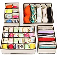 Clothes Drawer Dividers,TERSELY 4 Set Underwear Organisers, Wardrobe Organiser, Foldable Closet Organizer,Cabinet…