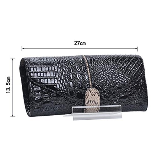 Leather Wallet Messenger Party Pattern Bag Clutch Crocodile Wristlets Dinner Shoulder Chain Women's Black BPRWI