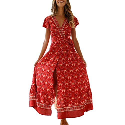 - URIBAKE ♥️ Womens Boho Print Maxi Dress Short Sleeve V-Neck Summer Breathable Night Party Beach Sundress Red