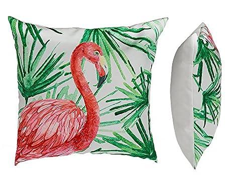 Precio en el palo® Cojín, flamingo & Hojas, con cierre de ...